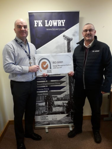 FK Lowry achieves ISO 50001 Energy Management certification
